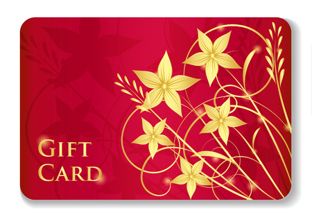 giveaway: Luxury red gift card with golden swirls and flowers
