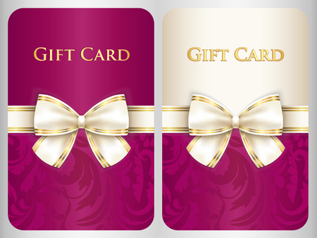 scarlet: Scarlet vertical gift card with damask ornament and cream diagonal ribbon Illustration