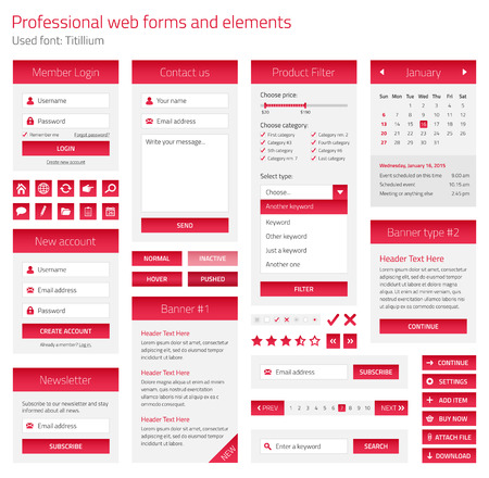 Professional set of web forms and elements on light background Illustration