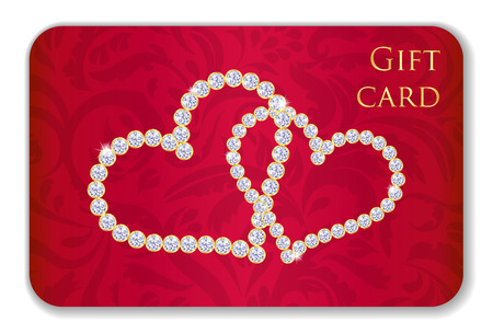 Red Valentine gift card with entwined hearts composed from diamonds