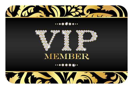 vip area: VIP member card with golden floral pattern. VIP composed from small diamonds
