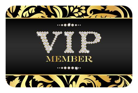 VIP Member-Karte mit goldenem Blumenmuster. VIP von kleinen Diamanten zusammengesetzt Standard-Bild - 35378929