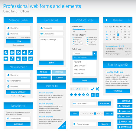 category: Professional set of web forms and elements Illustration