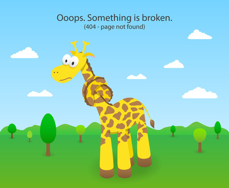 404 error page with knotted giraffe. 404 Page not found site. Vector