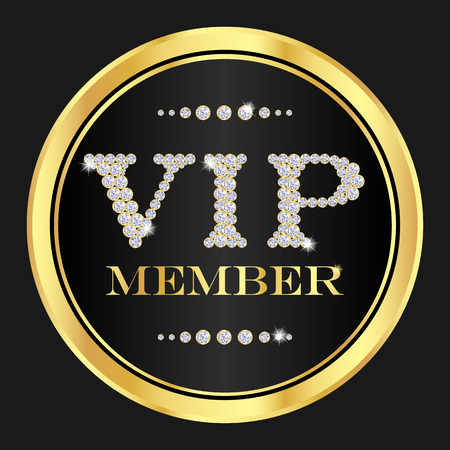 vip badge: VIP member badge. VIP composed from small diamonds Illustration