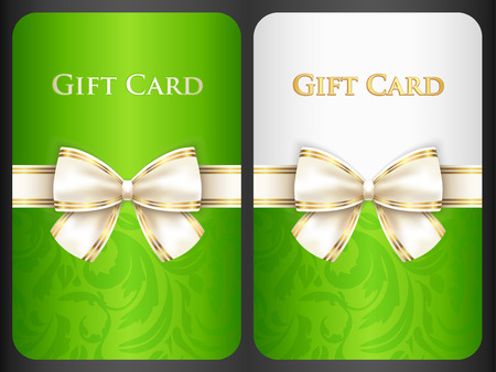 scarlet: Scarlet gift card with damask ornament and cream diagonal ribbon Illustration