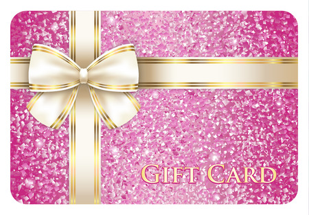 Luxury pink shiny gift card composed from glitters Vector