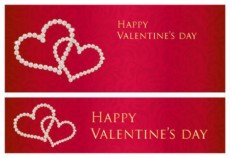 giveaway: Red Valentine gift card with entwined hearts composed from diamonds