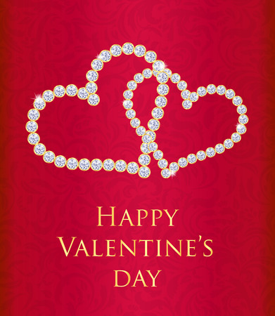 entwined: Red Valentine gift card with entwined hearts composed from diamonds