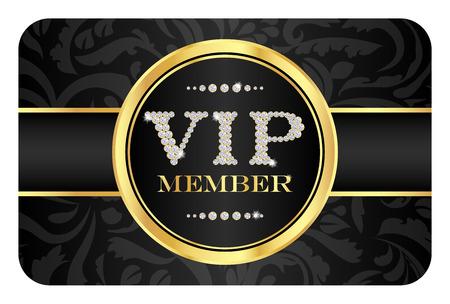 Insignia miembro VIP de la tarjeta de negro con estampado de flores. VIP compuesta a partir de pequeños diamantes