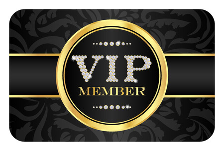 access card: VIP member badge on black card with floral pattern. VIP composed from small diamonds