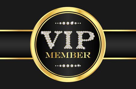 insignias: Insignia miembro VIP de la tarjeta de negro. VIP compuesta a partir de peque�os diamantes
