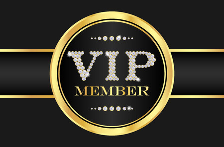 vip area: VIP member badge on black card. VIP composed from small diamonds