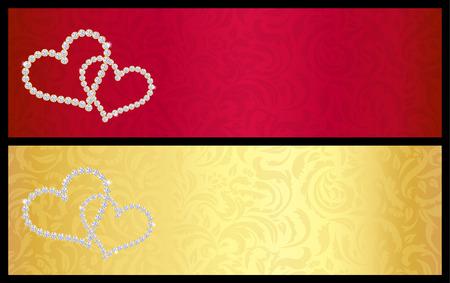 giveaway: Tarjeta de regalo de San Valent�n de rojo con corazones entrelazados compuestos de diamantes