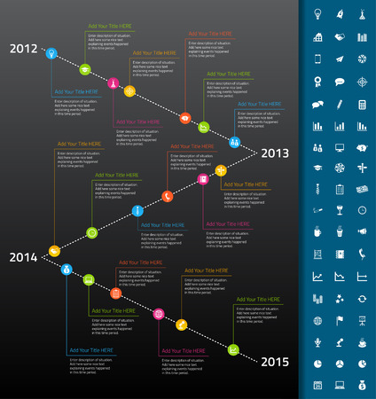 milestones: Timeline with rainbow milestones and icons on dark background Illustration