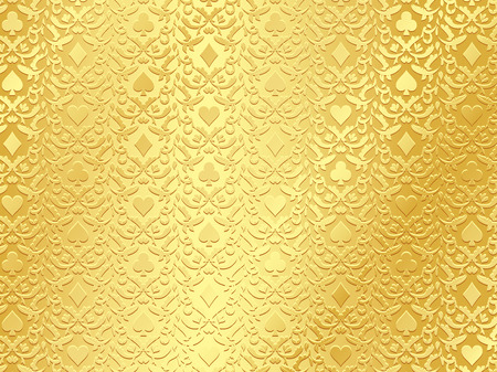 ace hearts: Luxury golden poker background with card symbols