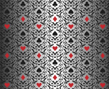 카드 기호 장식 된 럭셔리 실버 포커 배경 일러스트