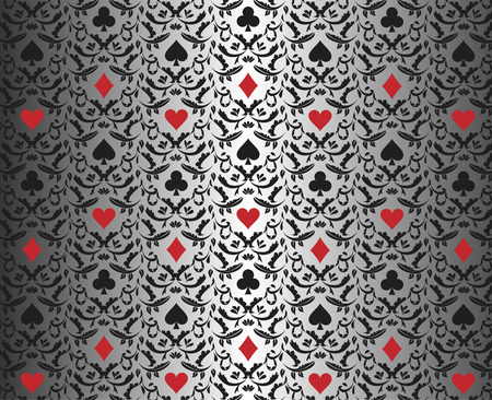 Luxury silver poker background with card symbols ornament