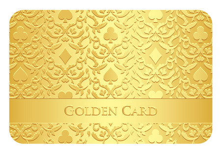 succes: Golden card with card symbols ornament