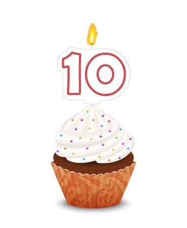 Verjaardag cupcake met kaars nummer tien vorm Stock Illustratie