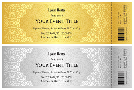 cinema ticket: Luxury golden and silver theater ticket with vintage pattern
