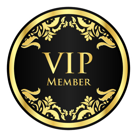 vip badge: Black VIP member badge with golden vintage pattern Illustration