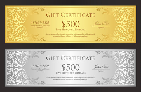 Luxury golden and silver voucher with vintage ornament Vector