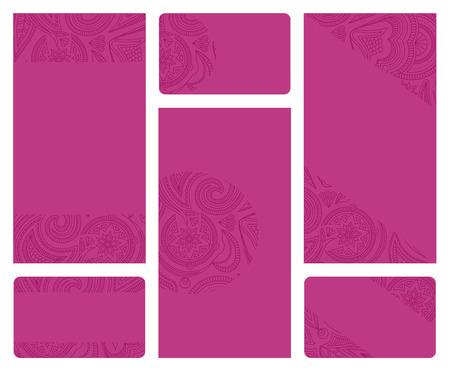 Set of pink leaflet and business card templates. Illustration