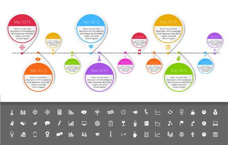 Tijdlijn template in sticker stijl met een set van iconen. Witte achtergrond Stock Illustratie