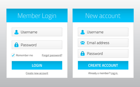 login button: Member login and new account website forms
