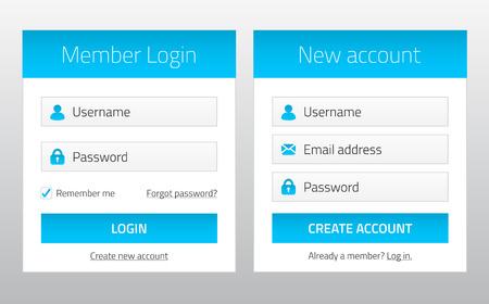 premium member: Member login and new account website forms
