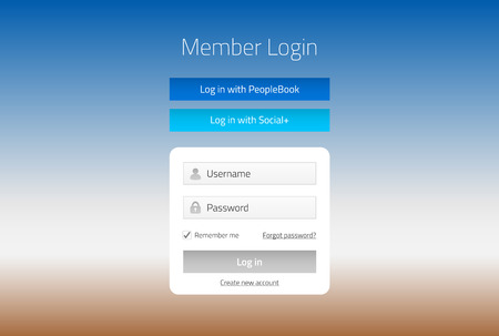 log in: Modern member login website form with social media log in