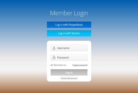 Moderne formulaire sur le site de connexion de membre avec journal des médias sociaux dans