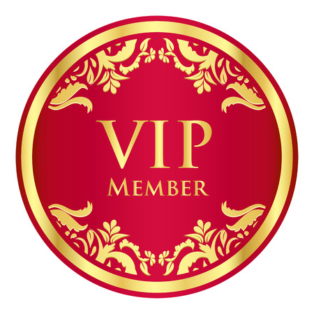 vip badge: Red VIP member badge with golden vintage pattern