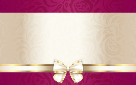 Luxury gift certificate with floral pattern and cream ribbon Banco de Imagens - 36401770
