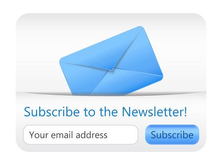 파란색 봉투가있는 뉴스 레터 웹 사이트 요소에 빛을 기록하십시오.
