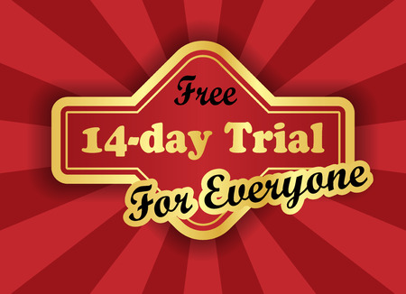 Free 14-day trial label in retro style Vector