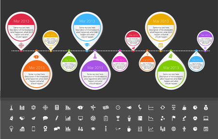 overview: Timeline template in sticker style for startups with set of icons.