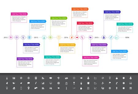 mapa de procesos: Cronolog�a plana moderna con colores del arco iris y un conjunto de iconos Vectores