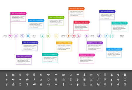 Modern flat timeline with rainbow colors and set of icons Ilustração