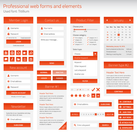 contact page: Professional set of orange web forms and elements on light background