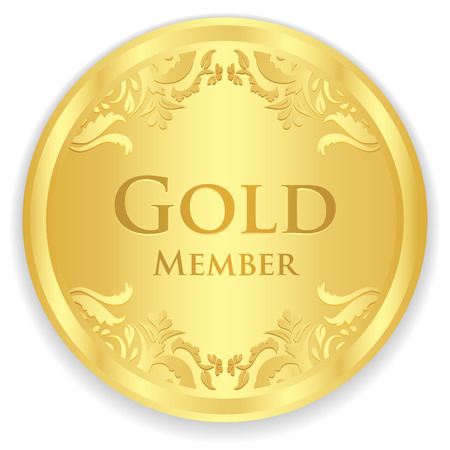 Gold member badge with golden vintage pattern 版權商用圖片 - 37140287