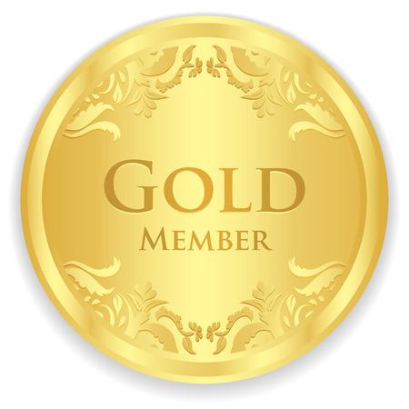 Gold member badge with golden vintage pattern