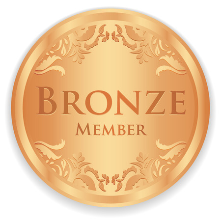 Bronze member badge with vintage pattern