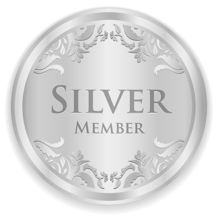 Silver member badge with silver vintage pattern Vectores