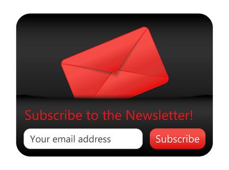 Dark subcribe to newsletter website element with red envelope