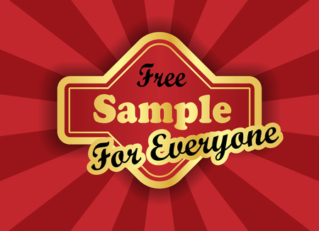 give away: Free sample  label in retro style Illustration
