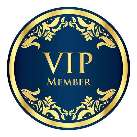 Blue VIP member badge with golden vintage pattern