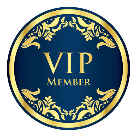 vip badge: Blue VIP member badge with golden vintage pattern