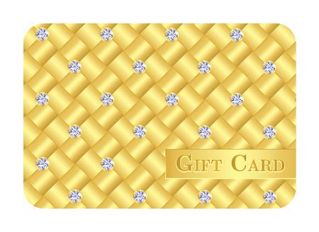 zircon: Luxury golden gift card with small diamonds Illustration